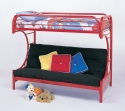 "Red ""C"" Style Twin/Full Futon Bunk Bed"