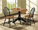 3 Piece Oak and Black Finish Drop Leaf Dinette Set