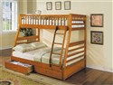 Jason Oak Finish Twin/Full BunkBed w/Drawer