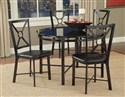 Diamond Black Glass Table and Side Chairs Set