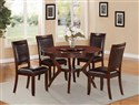 5pcs Round Dining Table Set w Lazy Susan in Espres